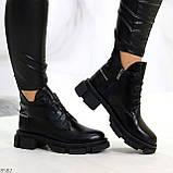 Крутые черные женские ботинки из натуральной кожи низкий ход, фото 8