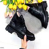 Крутые черные женские ботинки из натуральной кожи низкий ход, фото 9