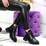 Крутые черные женские ботинки из натуральной кожи низкий ход, фото 10