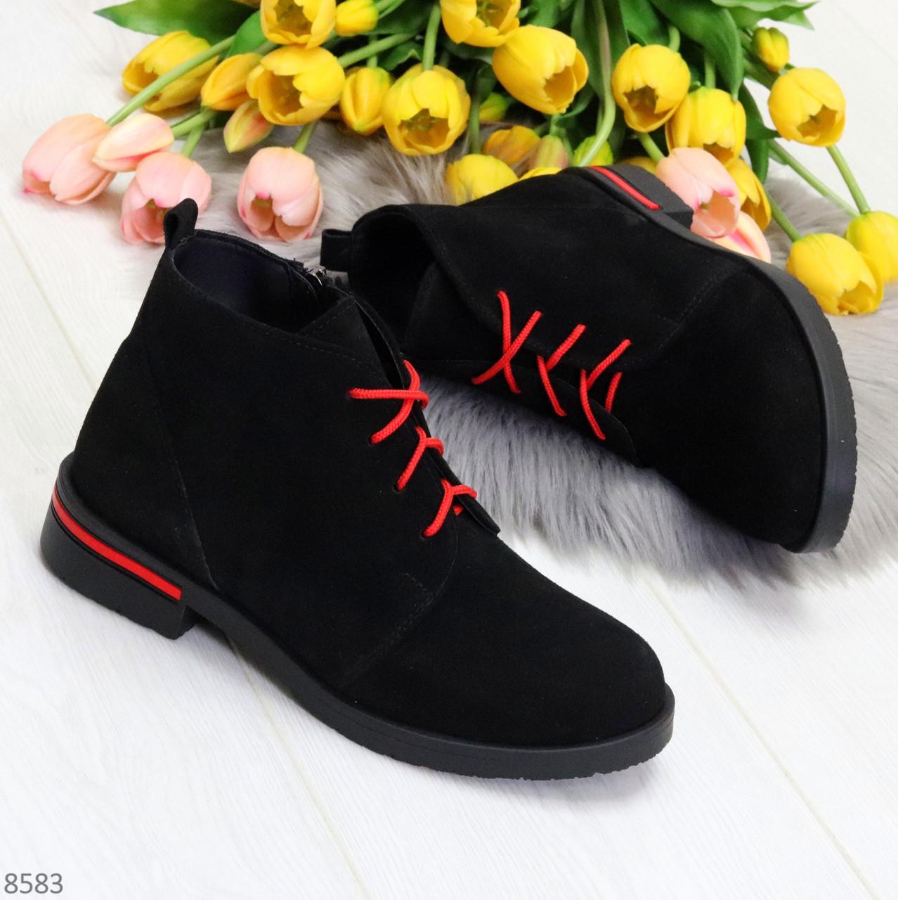 Модные черные женские ботинки из натуральной замши на яркой шнуровке