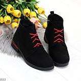 Модные черные женские ботинки из натуральной замши на яркой шнуровке, фото 4