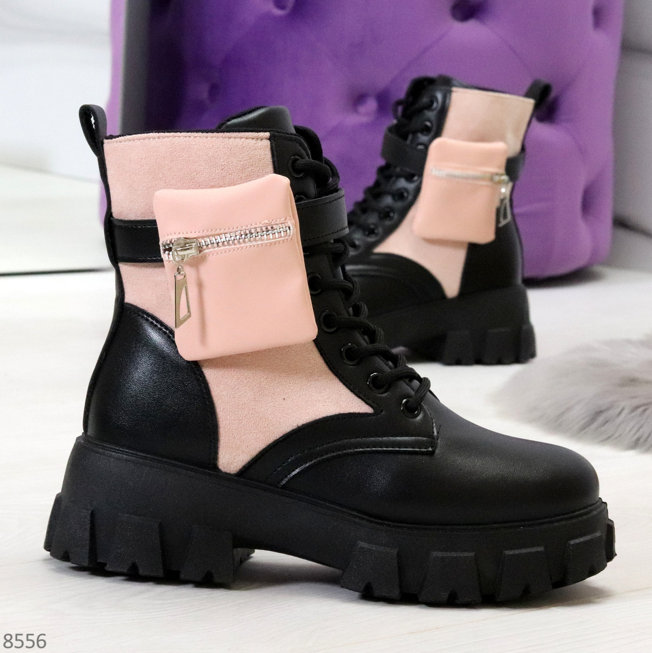 Трендовые люксовые женские черные розовые ботинки с сумочками кошельками кармашками