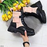 Трендовые люксовые женские черные розовые ботинки с сумочками кошельками кармашками, фото 2