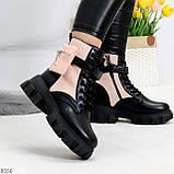 Трендовые люксовые женские черные розовые ботинки с сумочками кошельками кармашками, фото 3