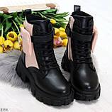 Трендовые люксовые женские черные розовые ботинки с сумочками кошельками кармашками, фото 7