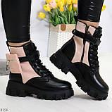 Трендовые люксовые женские черные розовые ботинки с сумочками кошельками кармашками, фото 8