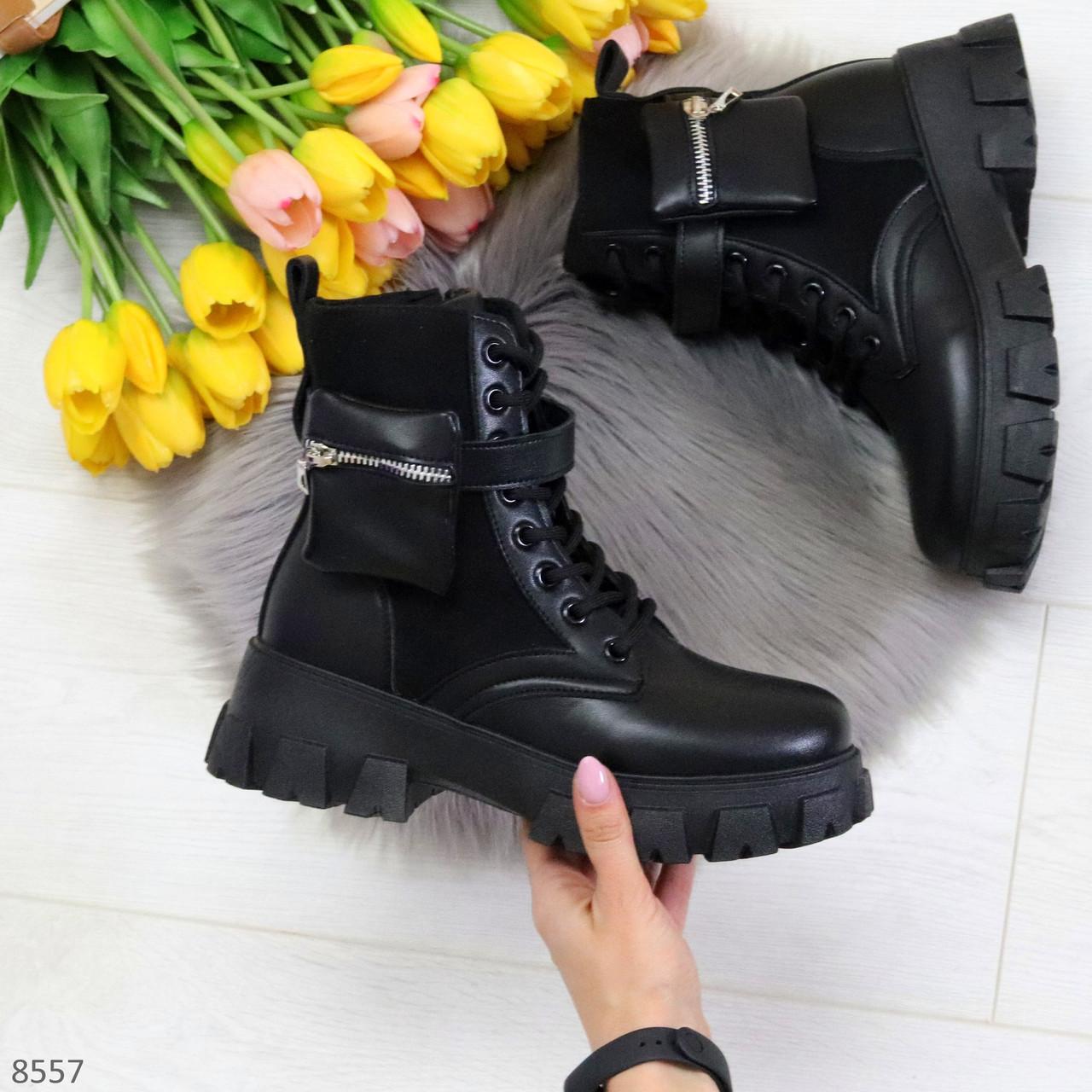 Трендовые люксовые женские черные ботинки с сумочками кошельками кармашками