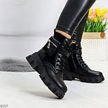 Трендовые люксовые женские черные ботинки с сумочками кошельками кармашками, фото 2