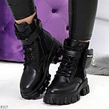 Трендовые люксовые женские черные ботинки с сумочками кошельками кармашками, фото 5