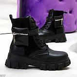 Трендовые люксовые женские черные ботинки с сумочками кошельками кармашками, фото 9