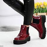 Эффектные бордовые женские лаковые глянцевые ботинки челси, фото 2