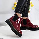 Эффектные бордовые женские лаковые глянцевые ботинки челси, фото 3