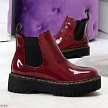 Эффектные бордовые женские лаковые глянцевые ботинки челси, фото 5