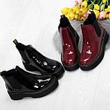 Эффектные бордовые женские лаковые глянцевые ботинки челси, фото 6