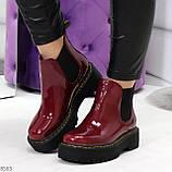 Эффектные бордовые женские лаковые глянцевые ботинки челси, фото 7
