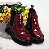 Эффектные бордовые женские лаковые глянцевые ботинки челси, фото 8