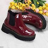 Эффектные бордовые женские лаковые глянцевые ботинки челси, фото 9