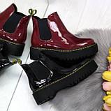 Эффектные бордовые женские лаковые глянцевые ботинки челси, фото 10