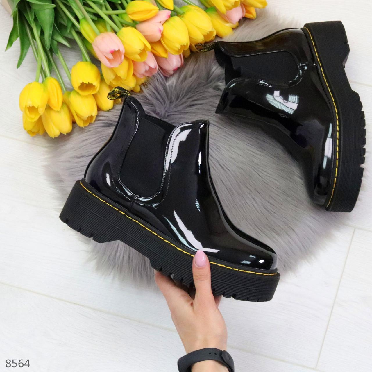 Модные черные женские лаковые глянцевые ботинки челси