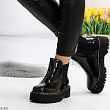 Модные черные женские лаковые глянцевые ботинки челси, фото 2