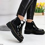 Модные черные женские лаковые глянцевые ботинки челси, фото 3