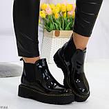 Модные черные женские лаковые глянцевые ботинки челси, фото 4