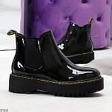 Модные черные женские лаковые глянцевые ботинки челси, фото 5