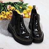 Модные черные женские лаковые глянцевые ботинки челси, фото 6