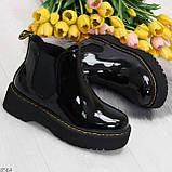 Модные черные женские лаковые глянцевые ботинки челси, фото 7