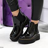 Модные черные женские лаковые глянцевые ботинки челси, фото 9