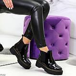 Модные черные женские лаковые глянцевые ботинки челси, фото 10