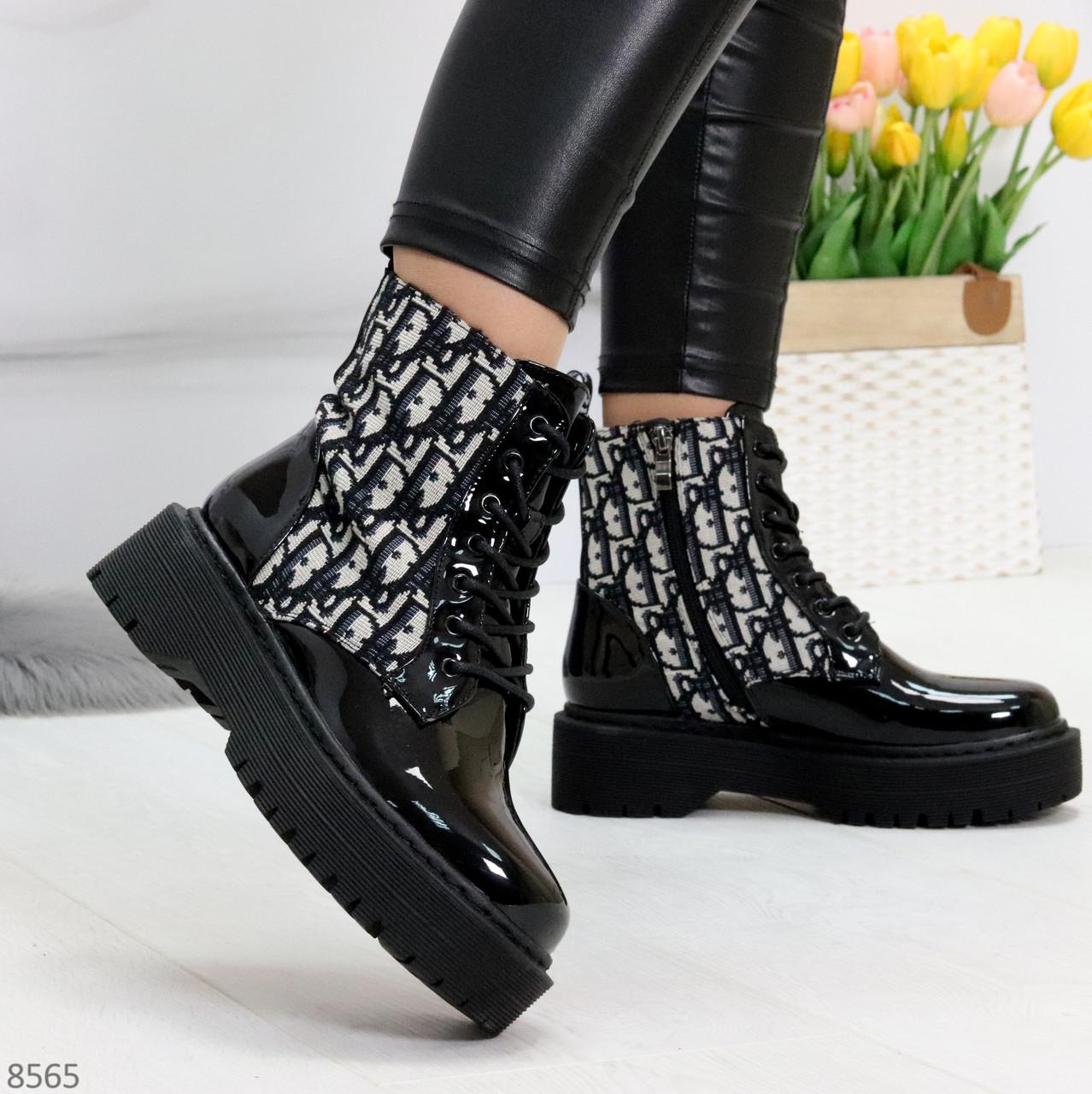 Эффектные черные женские лаковые глянцевые ботинки челси