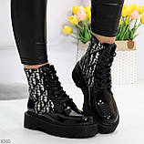 Эффектные черные женские лаковые глянцевые ботинки челси, фото 3