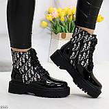 Эффектные черные женские лаковые глянцевые ботинки челси, фото 4