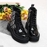 Эффектные черные женские лаковые глянцевые ботинки челси, фото 5