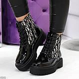 Эффектные черные женские лаковые глянцевые ботинки челси, фото 6