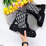 Эффектные черные женские лаковые глянцевые ботинки челси, фото 9