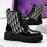 Эффектные черные женские лаковые глянцевые ботинки челси, фото 10
