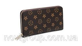 Коричневий шкіряний гаманець, унісекс, прямокутний, чотири відділення