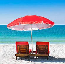 Садовой складной зонтик с наклоном, красный, большой пляжный зонт от солнца 1.75 м с доставкой