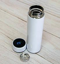 Электронный смарт термос с датчиком температуры (Белый) 500 мл, металлический