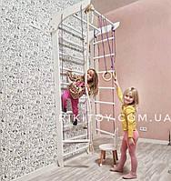 Детская шведская стенка - спортивный комплекс-уголок: турник, кольца, лестница, трапеция 220х80см, белый