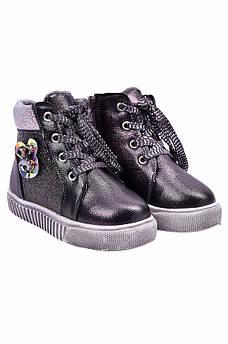 Ботинки детские девочка на меху черные YTOP 127485M