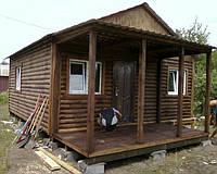 Дачный домик 6м х 6м из блокхауса с террассой, фото 1