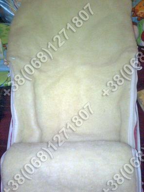Зимний конверт на овчине в коляску, в санки Фиолетовый, фото 2