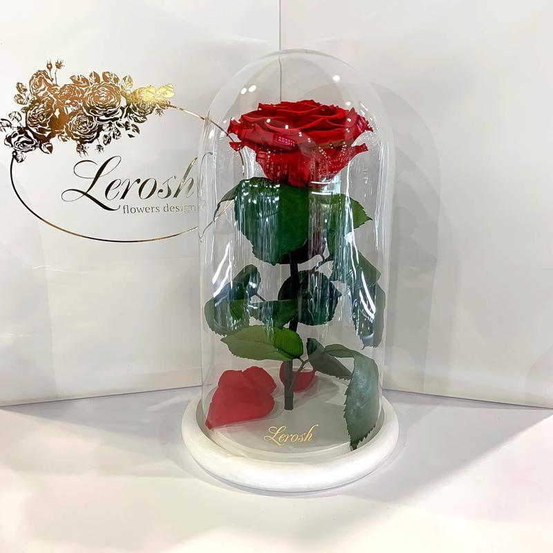 Красная роза в колбе Lerosh - Premium 27 см на белой подставке SKL15-279564