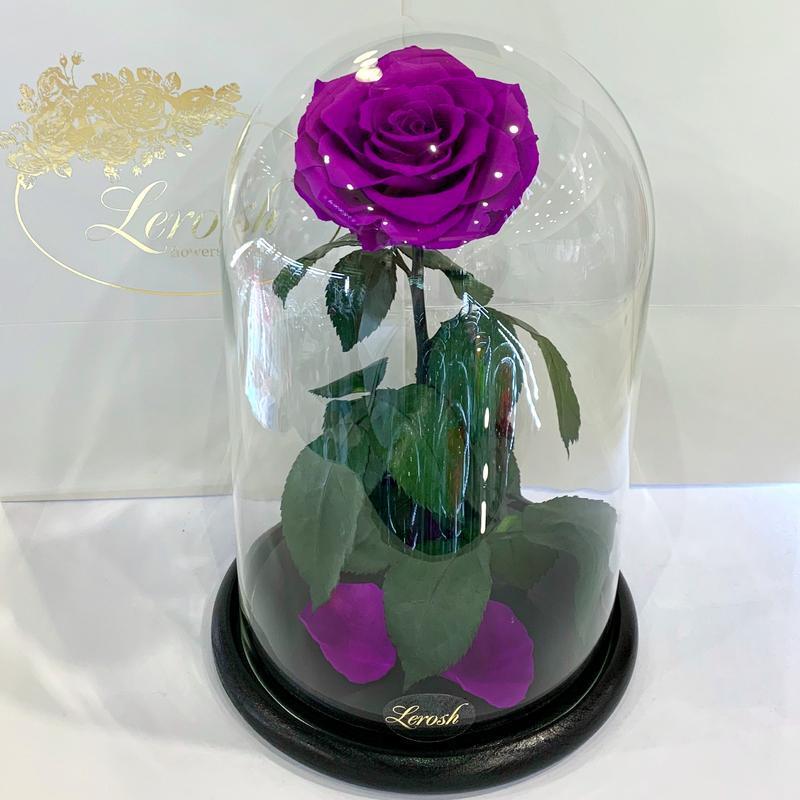 Фиолетовая роза в колбе Lerosh - Lux 33 см SKL15-279539