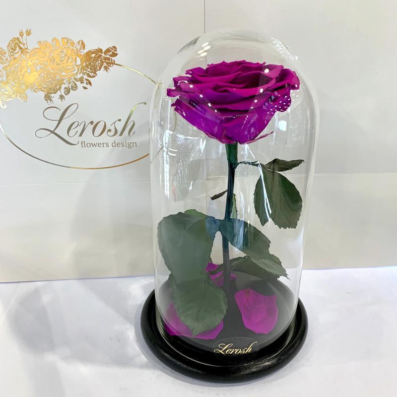 Фиолетовая роза в колбе Lerosh - Premium 27 см SKL15-279582