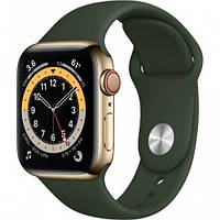 Apple Watch Series 6 GPS + Cellular 40mm Gold Stainless Steel Case with Cyprus Green Sport Band (M02W3/M06V3)