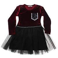 """Платье для девочки. Размер: 128. бордовый/черный. TM """"BREEZE"""" 13963. Турция."""